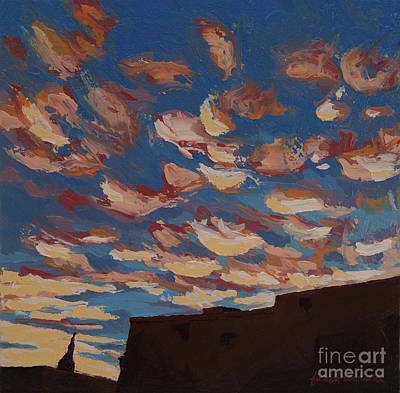 Poster featuring the painting Sunset Clouds Over Santa Fe by Erin Fickert-Rowland
