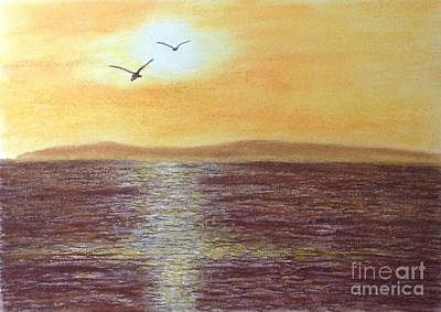 Sunset And Seagulls Poster by Cybele Chaves