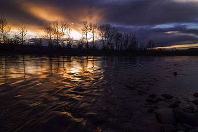 Sunset Drama Over Boise River In Boise Idaho Poster by Vishwanath Bhat