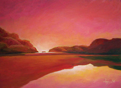 Sunset Estuary Poster by Angela Treat Lyon