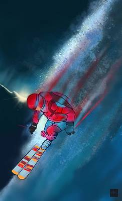 Sunset Extreme Ski Poster by Sassan Filsoof