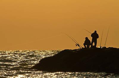Sunset Fishermen Poster