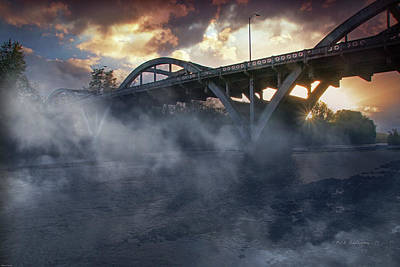 Sunset Fog At Caveman Bridge Poster by Mick Anderson