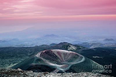 Sunset From The Top Of The Etna Poster