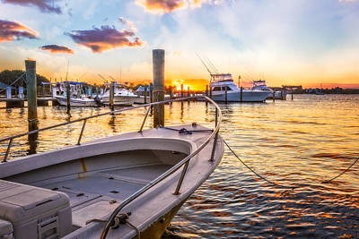 Sunset Harbor Poster by Debra and Dave Vanderlaan