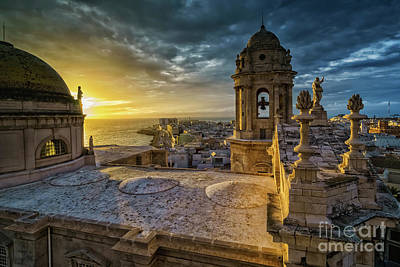 Poster featuring the photograph Sunset In Cadiz Cathedral View From Levante Tower Cadiz Spain by Pablo Avanzini