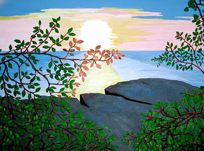 Poster featuring the painting Sunset In Jamaica by Stephanie Moore