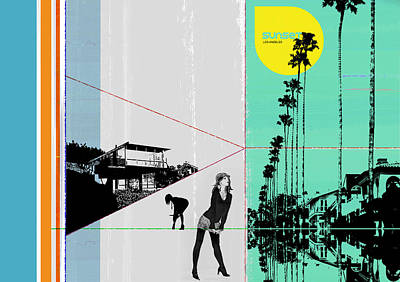 Sunset In La Poster by Naxart Studio