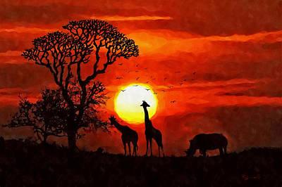 Sunset In Savannah Poster