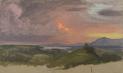 Sunset In The Hudson Valley Poster by Frederic Edwin Church
