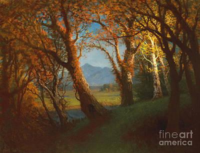 Sunset In The Nebraska Territory Poster by Albert Bierstadt