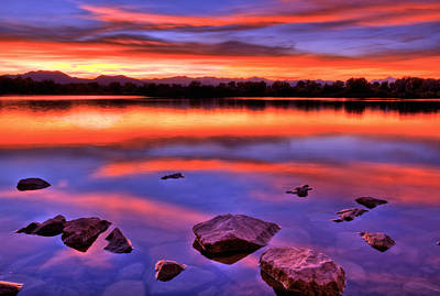 Sunset Lake Poster by Scott Mahon
