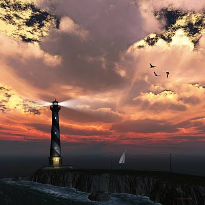 Sunset Lighthouse 2 Poster by Jim Coe