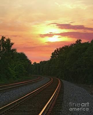 Sunset Lighting Up The Rails Poster