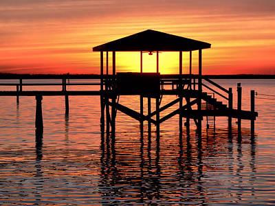 Sunset Lit Pier Poster