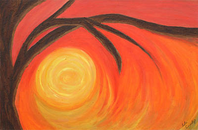 Poster featuring the painting Sunset by Lola Connelly