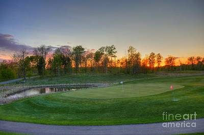 Sunset Minnesota National Golf Course Championship Course 2 Poster by Wayne Moran