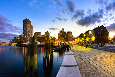 Sunset On Boston's Long Wharf Poster by Mark E Tisdale