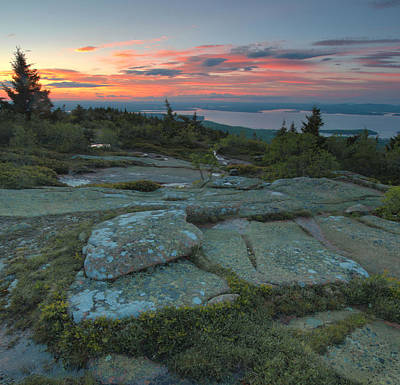 Poster featuring the photograph Sunset On Cadillac Mountain by Stephen  Vecchiotti