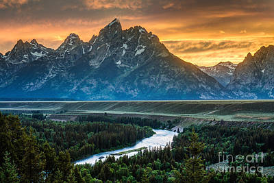 Sunset On Grand Teton And Snake River Poster
