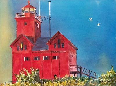 Poster featuring the painting Sunset On Holland Light by LeAnne Sowa