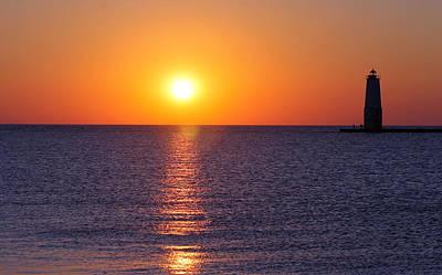 Sunset On Lake Michigan Poster by Bruce Patrick Smith