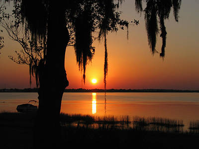 Sunset On Lake Minneola Poster by Peg Urban