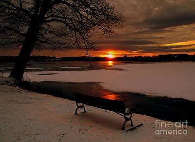Sunset On Lake Quanapowitt Poster