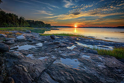 Poster featuring the photograph Sunset On Littlejohn Island by Rick Berk