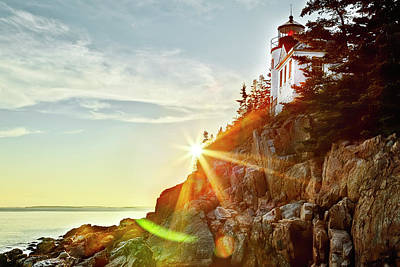 Ocean Sunset On Maine's Bass Harbor Lighthouse Poster