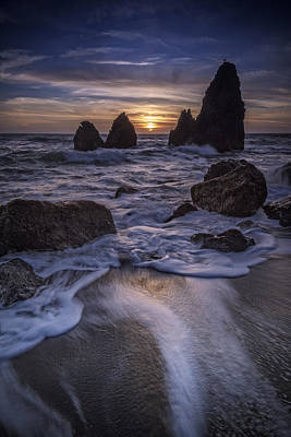 Sunset On Rodeo Beach Poster