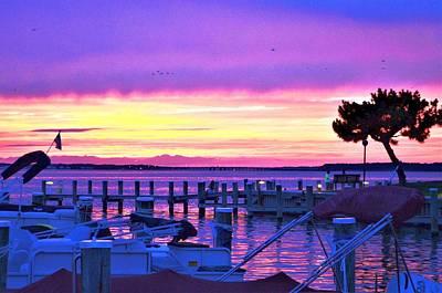 Sunset On The Docks Poster