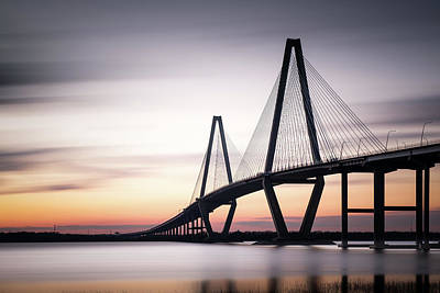 Sunset On The Ravenel Bridge Poster by Ivo Kerssemakers