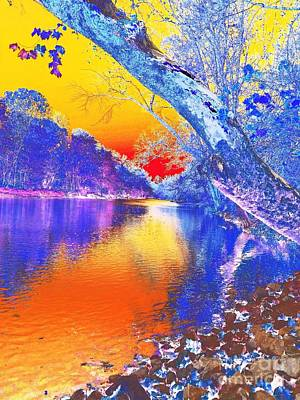 Sunset On The River Abstract Poster