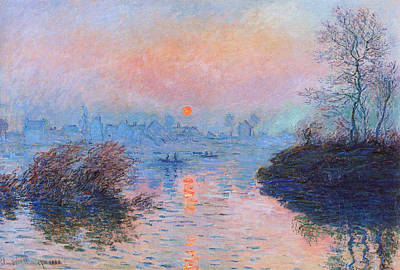 Sunset On The Seine At Lavacourt Winter Effect 1880 Poster by Claude Monet