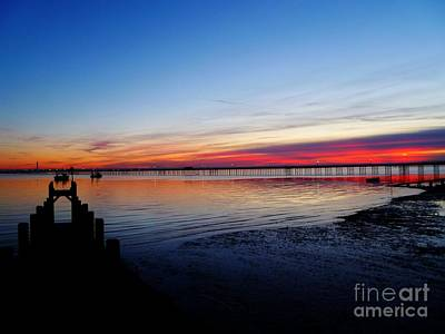 Sunset On The Shore Of Southend Poster
