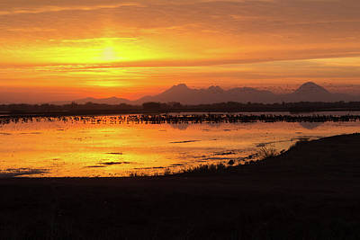 Sunset On The Sutter Buttes Poster by Cindy Lee Galyean
