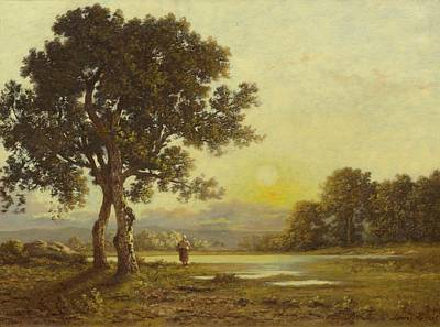 Sunset Over A Landscape With Trees Poster by Richet