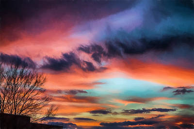 Sunset Over Asheville Poster by John Haldane