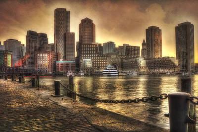 Sunset Over Boston Harbor Skyline Poster by Joann Vitali