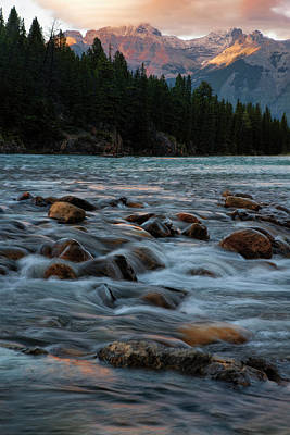 Poster featuring the photograph Sunset Over Bow River In Banff National Park by Dave Dilli