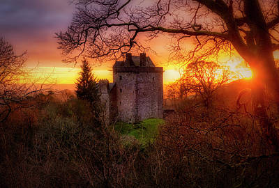 Poster featuring the photograph Sunset Over Castle Campbell In Scotland by Jeremy Lavender Photography