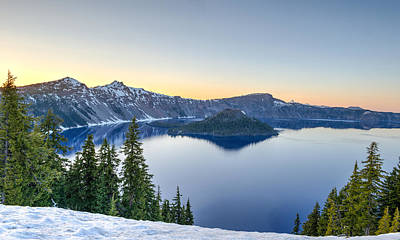Sunset Over Crater Lake Poster