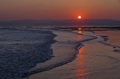 Sunset Over Exmouth Beach Poster