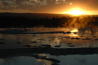 Sunset Over Great Fountain Geyser In Yellowstone National Park Poster