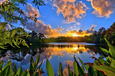Sunset Over Hidden Lake In Jupiter Florida Poster