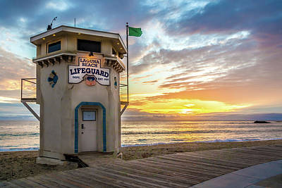 Sunset Over Laguna Beach Lifeguard Station Poster