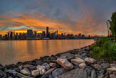 Sunset Over Manhattan Skyline, Gantry Poster