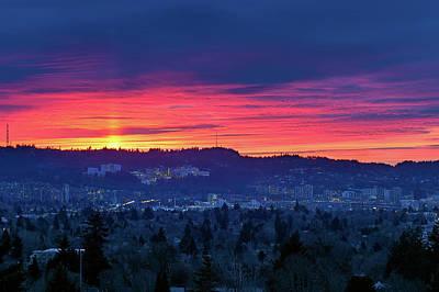 Sunset Over Marquam Hill Poster