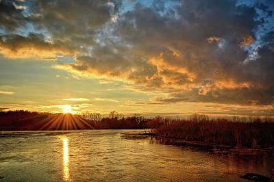 Sunset Over Marsh Poster